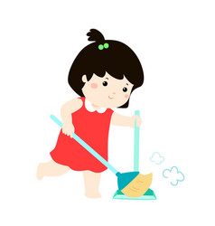 cute girl sweeping the dust on a white background vector image vector image