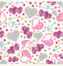 romantic seamless pattern with grunge hearts and vector image vector image