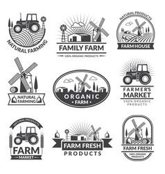 signs and labels for farm market monochrome vector image vector image