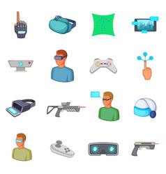 Virtual reality icons set cartoon style vector