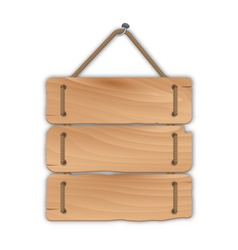wooden sign board with rope hanging on a nail - vector image