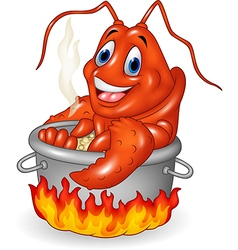 Cartoon funny lobster being cooked in a pan vector image vector image
