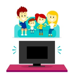 Family Watching TV Together vector image vector image
