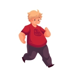 Fat boy jogging running living active life vector