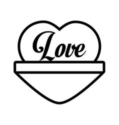 love heart message outline vector image vector image