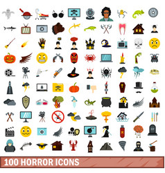 100 horror icons set flat style vector image