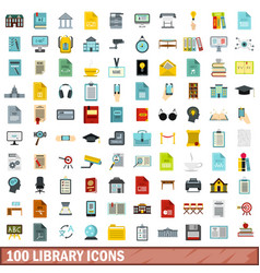 100 library icons set flat style vector