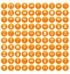 100 top hat icons set orange vector