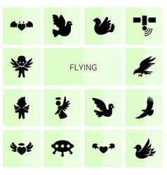 14 flying icons vector