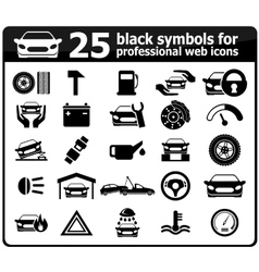 25 black car service icons vector
