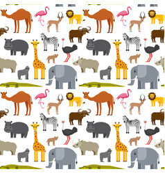 african or zoo animals seamless pattern cute vector image