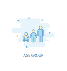 Age group line concept simple line icon colored vector