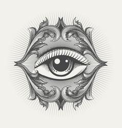 All seeing eye engraving vector