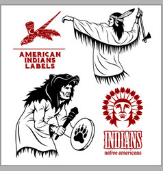 American indians set of vintage emblems labels vector