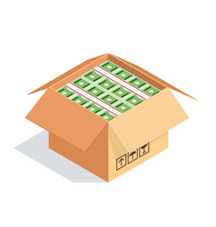 An open cardboard box with bundles of dollars vector