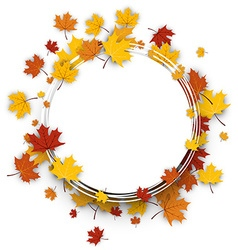 Autumn round background with maple leaves vector image
