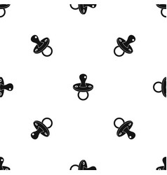 Baby pacifier pattern seamless black vector
