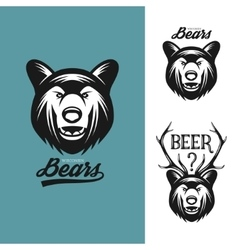 Bear head monochrome vintage vector image