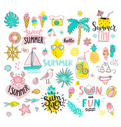 Big summer set of sun and fun hand drawn elements vector