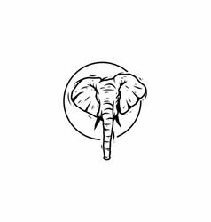 Black line art drawing elephant head vector