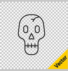 black line skull icon isolated on transparent vector image