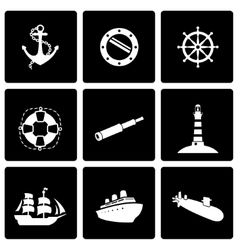 Black nautical icon set vector