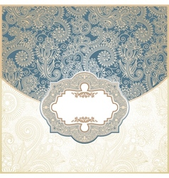 Blue and Gold Paisley Square Envelope vector