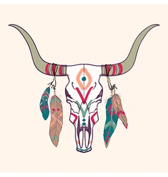 Bull skull with feathers vector