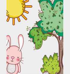 Bunny in the forest doodles cartoons vector