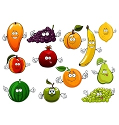 Cartoon happy fresh fruits characters vector image