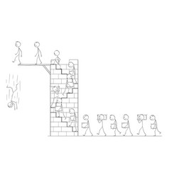 cartoon workers carrying stone blocks as vector image