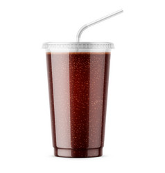 Clear disposable plastic cup with cola vector