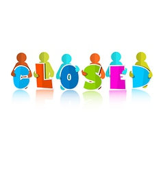 Closed Title with Colorful Paper Cut People vector image