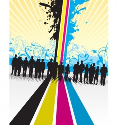 Cmyk people splash with floral vector