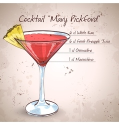 Cocktail Mary Pickford vector