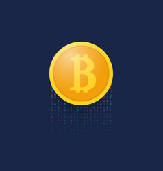coin bitcoin on a blue background financial vector image