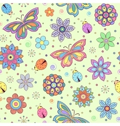 colorful flowers butterflies and ladybugs vector image