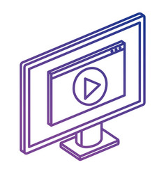 computer display with media player vector image
