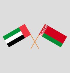 Crossed flags belarus and united arab emirates vector