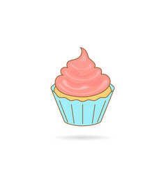 cupcake icon with pink cream vector image