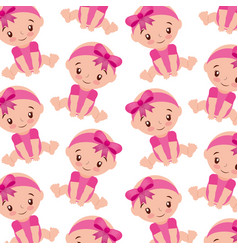 cute girl baby shower sitting seamless pattern vector image
