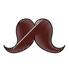 Cute scribble moustache cartoon vector