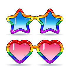 disco sunglasses in the shape of hearts and stars vector image