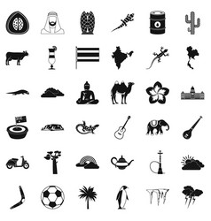 Exotic animal icons set simple style vector