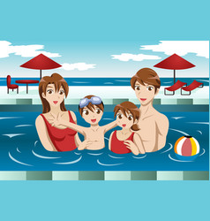 Family in a swimming pool vector