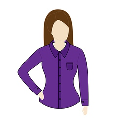 Female shirt template with long sleeves vector image