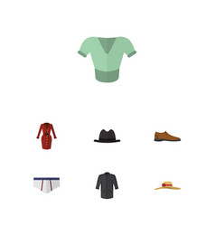 Flat garment set of uniform elegant headgear vector
