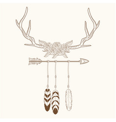 Free spirit horns with feathers style rustic vector