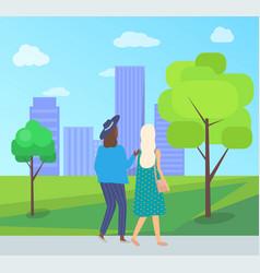 friends leisure urban park walking women vector image