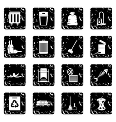 Garbage thing icons set vector